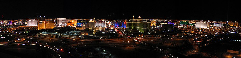 The Las Vegas Strip in 2004, as seen from the top of the Rio. The Strip is largely within Paradise.