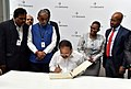 The Vice President, Shri M. Venkaiah Naidu signing the Visitors' Book during his visit to the Diamond Trading Company Botswana, in Gaborone, Botswana.JPG