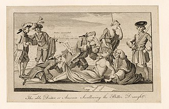 """A Patriot cartoon depicting the Coercive Acts as the forcing of tea on a Native American woman (a symbol of the American colonies), who is lying down, was copied and distributed in the Thirteen Colonies. Others watch and a man, believed to be Lord Sandwich, pins down her feet and peers up her skirt. The caption of the cartoon itself is """"The able Doctor or America swallowing the Bitter Draught."""""""