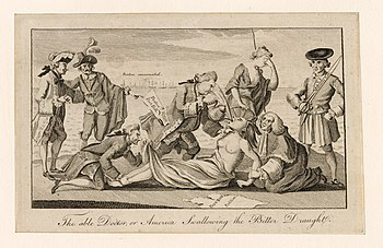 A 1774 etching from The London Magazine, copied by Paul Revere of Boston. Prime Minister Lord North, author of the Boston Port Act, forces the Intolerable Acts down the throat of America, whose arms are restrained by Lord Chief Justice Mansfield, while the 4th Earl of Sandwich pins down her feet and peers up her skirt. Behind them, Mother Britannia weeps helplessly, while France and Spain look on.