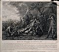 The death of General Montcalme, at Quebec, in the background Wellcome V0006894.jpg