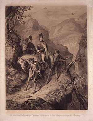 The late Field Marshals of England; Wellington & Lord Raglan, crossing the Pyrenees, 1813 by Thomas Jones Barker.jpg
