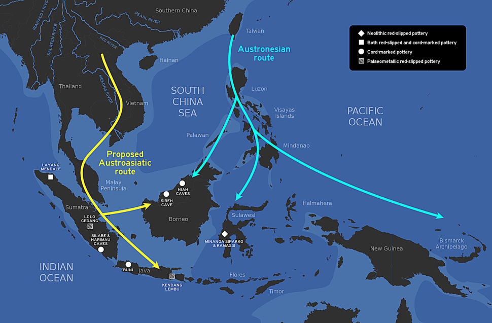 The proposed route of Austroasiatic and Austronesian migration into Indonesia and the geographic distribution of sites that have produced red-slipped and cord-marked pottery