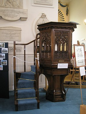 St Ann's Church, HMNB Portsmouth - Image: The pulpit within St Ann's, Portsmouth Dockyard geograph.org.uk 899961