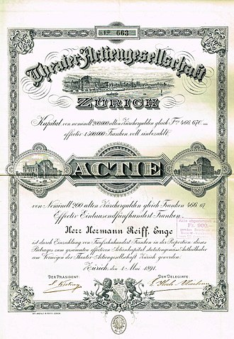 Zürich Opera House - Share of the Theater-Actiengesellschaft Zurich, issued 1. May 1891