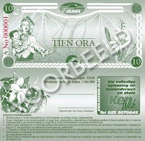 Ora (currency) - Ten Ora note featuring Racheltjie de Beer.