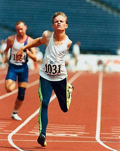 Tim Matthews finishing his race at the Atlanta 1996 Paralympic Games.jpg