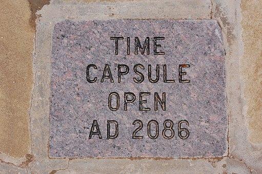 Time capsule plaque (Open AD 2086) - Little Rock, Arkansas - USA - 1 April 2008