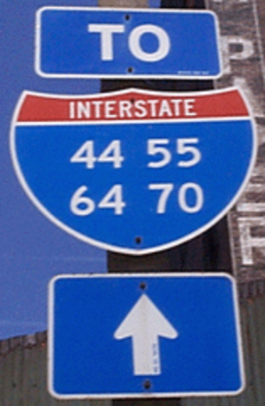Interstate 55 - I-44/I-55/I-64/I-70 on one highway sign in downtown St. Louis