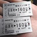 Tokyo Metro single journey tickets to Tawaramachi Station 20130530.jpg