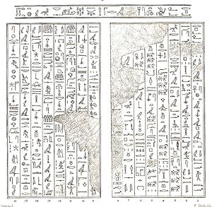 Tefibi - Drawing of a wall of Tefibi's tomb