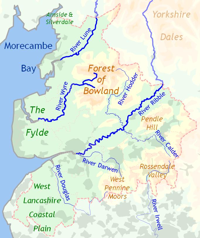 Topography of Lancashire