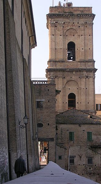Lanciano - Basilica's bell tower and Ponte Diocleziano