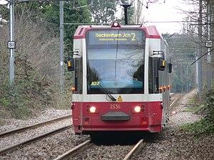 Morden Road tram stop - Image: Tramlink Tram 2536 05