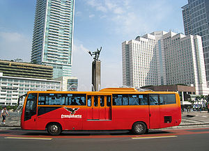 "TransJakarta Corridor I bus at ""Bundaran HI"""