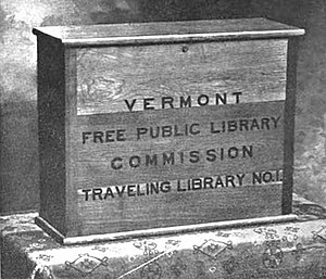 Traveling library - Image: Traveling Library box ca 1901 Vermont Free Public Library Commission 1