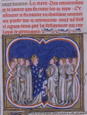 Louis the Younger - A fourteenth-century depiction of the signing of the Treaty of Fouron. Louis the Younger is in the plain grey costume while Louis the Stammerer is wearing the fleur-de-lis symbolic of the French monarchy. In the Grandes Chroniques de France