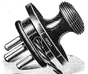 "AC power plugs and sockets - Illustration of ""Tripin"" 3-pin earthed plug dated 1911."
