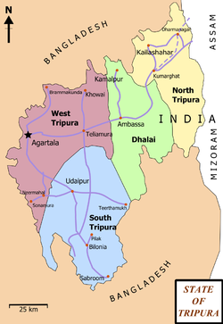 Vị trí của Huyện West Tripura
