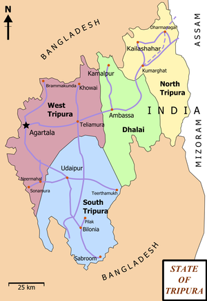 Map of State of Tripura. Map shows the 4 distr...
