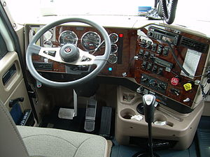 View of a truck's interior dashboard.