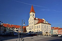 Trzebnica town hall and market square
