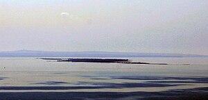 Вид на косу Тузла с горы Митридат в Керчи