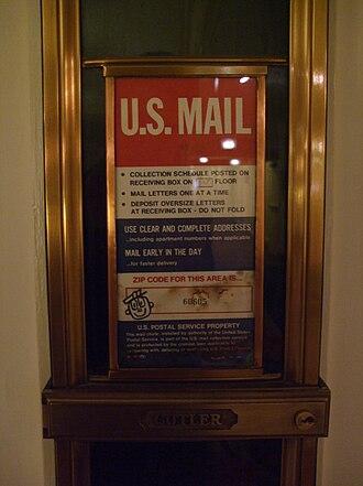 Chute (gravity) - Image: U.S. Mail Chute