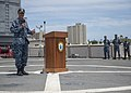 U.S. Navy Adm. Cecil D. Haney, left, the commander of the U.S. Pacific Fleet, speaks May 24, 2013, during an all-hands call for Pacific Partnership 2013 aboard the amphibious dock landing ship USS Pearl Harbor 130524-N-SP369-034.jpg