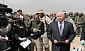 U.S. Secretary of Defense Robert Gates speaks to press after various combat demonstrations from the Afghan National Army (4421788721).jpg