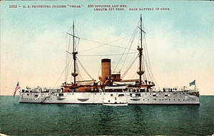 "USS Texas (1892) - U.S. Protected Cruiser ""Texas"" (postcard, circa 1907)"