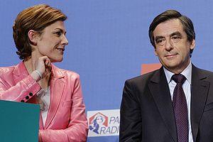 Chantal Jouanno (left) and François Fillon (ri...