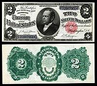 Certificado de prata de $ 2, série 1891, Fr.246, representando William Windom
