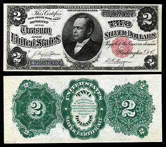 United States two-dollar bill - The second two-dollar denomination in the silver certificate series printed in 1891. This note features United States Secretary of the Treasury William Windom.