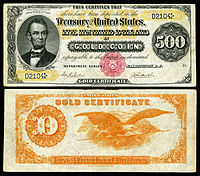 $500 Gold Certificate, Series 1882, Fr.xxxx, depicting Abraham Lincoln
