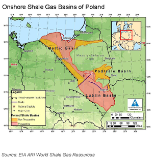 Shale gas by country - Potential shale gas basins in Poland (US EIA, 2011)
