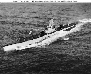 "Besugo (SS-321) underway, armed with two 5""/25 deck guns, c. 1950."