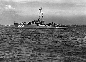 USS DeLong (DE-684) underway, circa the 1950s (NH 98909)