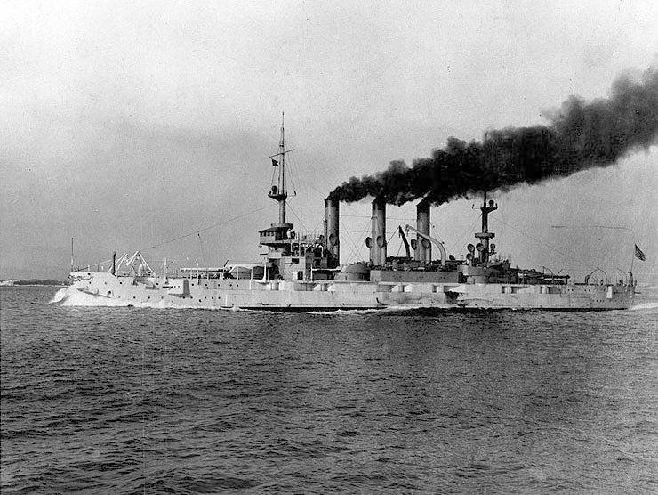 USS Kansas (BB-21) on trials