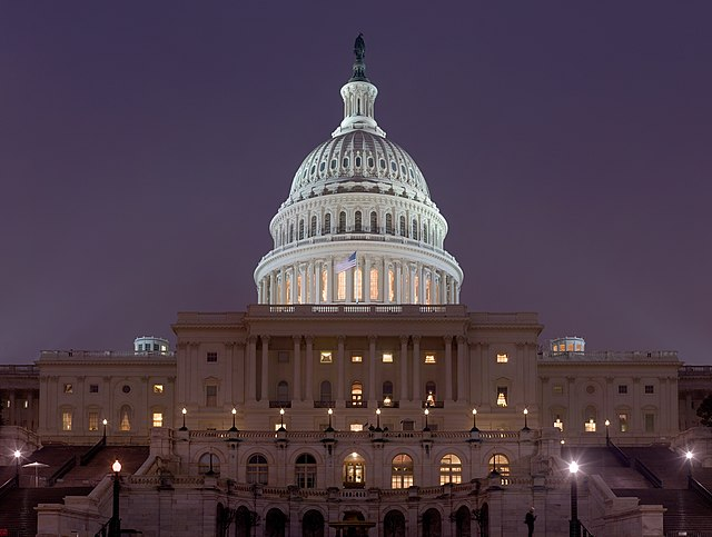 US Capitol Building at night Jan 2006