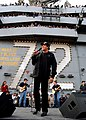 US Navy 021126-N-6817C-003 Wayne Newton entertains the officers and crew aboard Abraham Lincoln.jpg