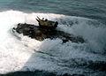 US Navy 040712-N-2651J-006 An Amphibious Assault Vehicle (AAV) speeds through the water after exiting the well deck of USS Saipan (LHA 2) during amphibious landing drills.jpg