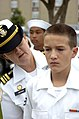 US Navy 051022-N-6843I-003 A member of the Navy League Sea Cadet Corps (NLCC) stands an uniform inspection.jpg