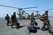 US Navy 061025-N-0209M-002 Indian Soldiers assigned to the 9th Battalion of the Sikh Infantry arrive aboard USS Boxer (LHD 4) to participate in Malabar 2006