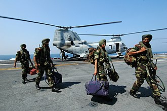 Sikh Light Infantry - Indian Soldiers assigned to the 9th Battalion of the Sikh Light Infantry arrive aboard USS Boxer (LHD 4) to participate in Malabar 2006. Malabar 2006 is a multinational exercise between the U.S., Indian and Canadian armed forces to increase interoperability between the three nations and support international security cooperation missions