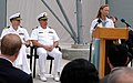 US Navy 070615-N-0066L-004 Nancy Vaughn speaks during the dedication of the Cooperative Engagement Capability (CEC) tower in memory of her late husband Larry whose career with Naval Sea Systems Command spanned 24 years.jpg