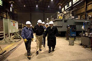 Marinette Marine - Chief of Naval Operations (CNO) Adm. Gary Roughead takes a tour of Marinette Marine Shipyard