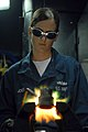 US Navy 080705-N-1635S-003 Hull Technician Fireman Donna Jones, from Mentone, Texas, performs a brazing job in the pipe shop aboard the Nimitz-class aircraft carrier USS Ronald Reagan (CVN 76).jpg