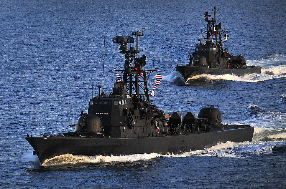 US Navy 100315-N-4774B-200 The Chilean navy Sa'ar 4-class fast-attack craft Angamos and Casma perform tactical maneuvering exercises in the Strait Of Magellan
