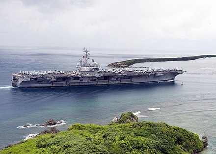 The aircraft carrier USS Ronald Reagan (CVN 76) enters Apra Harbor for a scheduled port visit US Navy 110821-N-AZ907-015 The aircraft carrier USS Ronald Reagan (CVN 76) enters Apra Harbor for a scheduled port visit.jpg